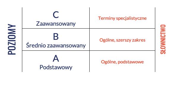 słownictwo na poziom języka